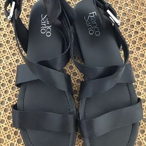 Black wedge thick strap sandals